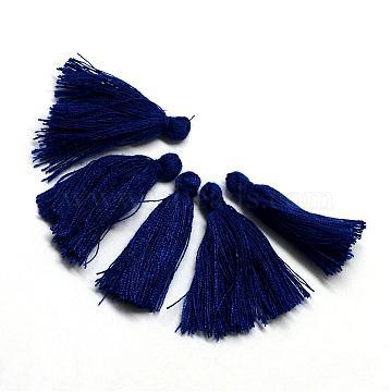 Cotton Tassel Decorations, Pendant Decorations, Midnight Blue, 30mm(X-OCOR-Q024-05)