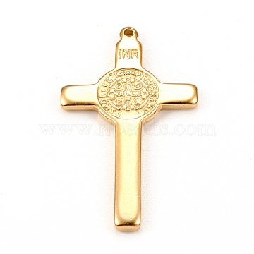 304 Stainless Steel Pendants, Cross with  Saint Benedict Medal, Golden, 33x19x2mm, Hole: 1.2mm(STAS-L250-004G)