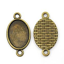 Сеттинги разъем сплава кабошон тибетском стиле, без никеля , овальные, античная бронза, лоток : 15x28 мм; 28x15x1.8 мм, отверстие : 2 мм(X-TIBE-K006-28mm-AB-NF)