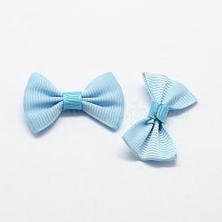Accessoires de costumes tissés manuels, grosgrain bowknot, paleturquoise, 23x37x6mm(WOVE-R047-06)