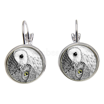 Brass Leverback Earrings, with Picture Glass, Flat Round with Eight-Diagram Pattern, Silver Color Plated, Dark Gray, 28mm; Pin: 0.8mm(EJEW-O088-02)