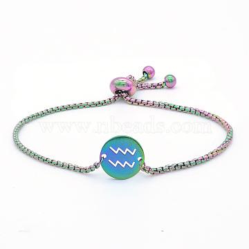 """Bracelets réglables en 201 acier inoxydable, bracelets bolo, avec des chaînes de boîte, plat rond avec constellation / signe du zodiaque, Verseau, 9-1/2"""" (24 cm)(STAS-S105-JN664-11)"""