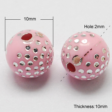 Plating Acrylic Beads, Metal Enlaced, Round, Pink, 10x10mm, Hole: 2mm, 1000pcs/500g(PACR-S189-10mm-12)