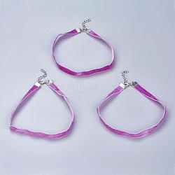 Cloth Gothic Choker Necklaces, with Iron Finding, Platinum, HotPink, 12.2inches(31cm)(NJEW-E085-30J)