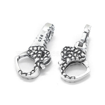 Thai 925 Sterling Silver Lobster Claw Clasps, Heart, Antique Silver, 24x12x8mm, Hole: 6mm and 5mm(STER-L055-053AS)