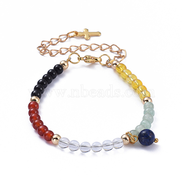 Natural Gemstone Salvation Bracelet, Charm Bracelets, with Brass Round Beads, 304 Stainless Steel Cross Charms and Lobster Claw Clasps, Golden, 6-1/2 inches(16.5cm)(X-BJEW-JB05209)