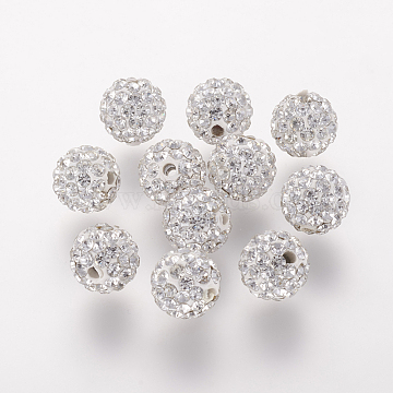 Polymer Clay Rhinestone Beads, Grade A, Round, Pave Disco Ball Beads, Crystal, 8x7.5mm, Hole: 1mm(RB-K050-8mm-C31)