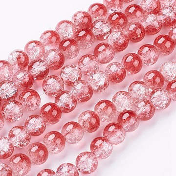 Crackle Glass Beads Strands, Round, White/Red, about 8mm in diameter, hole: 1mm, about 105pcs/strand, 33 inches/strand (X-GGC8mmY-A74)