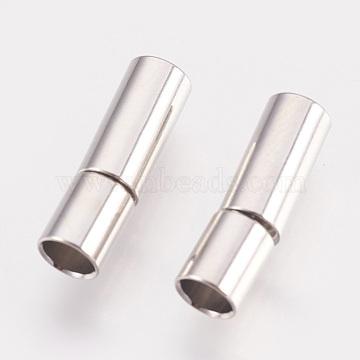 Brass Bayonet Clasps, Platinum, 17x5mm, Hole: 4mm(KK-P149-08C)