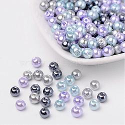 Silver-Grey Mix Pearlized Glass Pearl Beads, Mixed Color, 6mm, Hole: 1mm; about 200pcs/bag