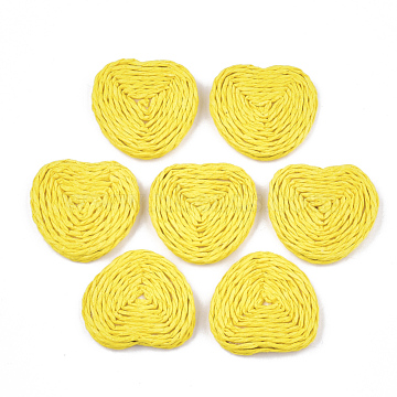 32mm Yellow Triangle Paper Beads