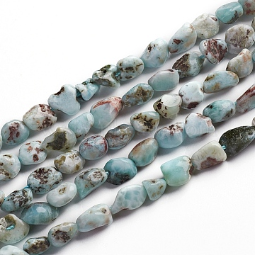 Natural Larimar Beads Strands, Nuggets, 6.5~9.5x5.5~7.5x3.5~5.5mm, Hole: 0.8mm, about 50pcs/Strand, 15.67 inches(39.8cm)(G-D0002-B38)