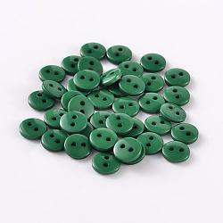 2-дырочные плоские круглые смолы швейные кнопки для дизайна костюма, темно-зеленые, 11.5x2 мм, отверстие : 1 мм(BUTT-E119-18L-14)