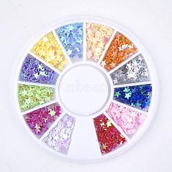 Brillant nail art paillettes, paillettes de manucure, paillettes scintillantes diy, étoiles, couleur mixte, 2.5x2.5x0.3mm, environ 144 pcs / boîte(MRMJ-S016-003C)