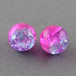 """Chapelets de perles en verre craquelé peints à la bombe, rond, magenta, 4 mm; trou: 1.1~1.3 mm; environ 200 pcs / brin, 31.4""""(X-CCG-Q002-4mm-09)"""