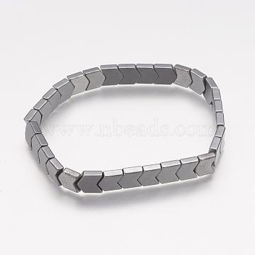 Non-magnetic Synthetic Hematite Stretch Bracelets, Arrows, 64mm(X-BJEW-K159-01)