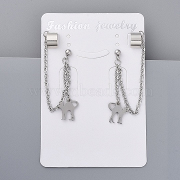 304 Stainless Steel Kitten Cuff Earrings, with Rolo Chains, Brass Earring Finding and Rubber Ear Nuts, Flat Round with Cat Silhouette, Stainless Steel Color, 122mm; Pin: 0.7mm(EJEW-JE03638-04)