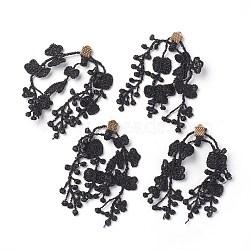 Pendentifs grands en fer, avec de la dentelle, fleur, or, noir, 67~85x6mm, Trou: 1.5mm(IFIN-G081-E08)