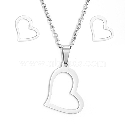 304 Stainless Steel Jewelry Sets, Pendant Necklaces and Stud Earrings, with Cable Chains, Earring Backs and Lobster Claw Clasps, Heart, Stainless Steel Color, 17.7inches(45cm); 10x9x1mm, Pin: 0.8mm(X-SJEW-D094-25P)