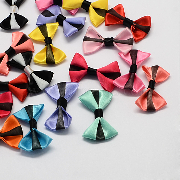 Handmade Woven Costume Accessories, Ribbon Bowknot, Mixed Color, 23x37x7mm(X-WOVE-R052-M)