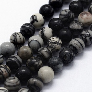 Natural Black Silk Stone/Netstone Beads Strands, Round, 10mm, Hole: 1mm; about 37pcs/strand,  14.76inches(37.5cm)(X-G-I199-11-10mm)