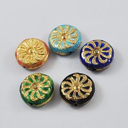Perles en cloisonné, plat rond, couleur mixte, 17x6mm, Trou: 1.5mm(CLB-S003-15)