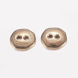 Boutons en alliage 2 trou, Plaqué longue durée, or clair, 10x10x2mm, Trou: 1.5mm(PALLOY-E446-14KCG)