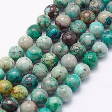 Natural Chrysocolla Beads Strands, Round, 7mm, Hole: 1mm; about 58pcs/strand, 15.5 inches(39.5cm)(G-J369-02-7mm)