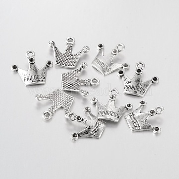 Antique Silver Plated Tibetan Style Crown With Princess Pendant Rhinestone Settings, Lead Free and Cadmium Free, 19mmx17mm, Hole: 2mm, Fit for 1.5mm rhinestone(X-A0368Y)