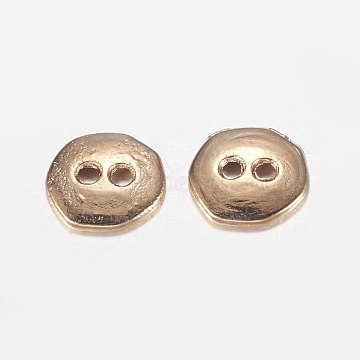 2-Hole Alloy Buttons, Long-Lasting Plated, Light Gold, 10x10x2mm, Hole: 1.5mm(PALLOY-E446-14KCG)