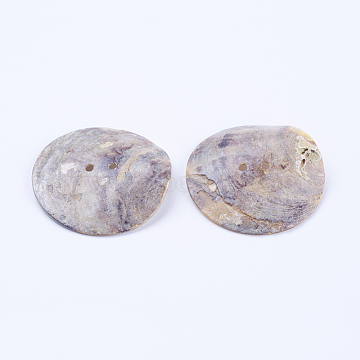 Natural Sea Shell Buttons, Large Buttons, 2-Hole, Flat Round, 50x2~3.5mm, Hole: 2mm(SSHEL-F301-58)