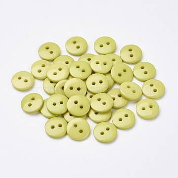 2-Hole Flat Round Resin Sewing Buttons for Costume Design, Green Yellow, 11.5x2mm, Hole: 1mm(BUTT-E119-18L-15)