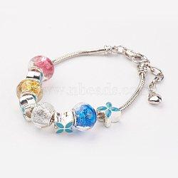 """Lampwork bracelets européens, avec des perles européennes en émail, rondelle et fleur, colorées, 7-7/8"""" (200 mm)(BJEW-JB03130-01)"""
