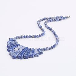 Natural Blue Spot Jasper Beaded Bib Statement Necklaces, with Brass Lobster Claw Clasps, 18.8inches(48cm)(NJEW-K083-02A)