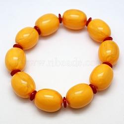 Эластичные эластичные буддийские украшения смола имитация пчелиный воск баррель мала браслеты из бисера, золотарник, 64 mm(BJEW-L037-05)