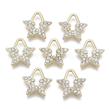 Light Gold Plated Alloy Rhinestone Pendants, Star, Crystal, 13x13x2mm, Hole: 7x3.5mm(PALLOY-S132-081)