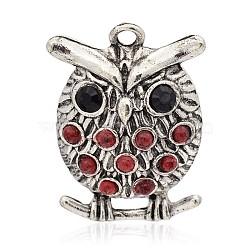 Halloween de hibou plaqué argent antique alliage pendentifs en strass, avec cabochons de résine, rouge, 39x28.5x9mm, Trou: 3mm(PALLOY-J636B-01AS)