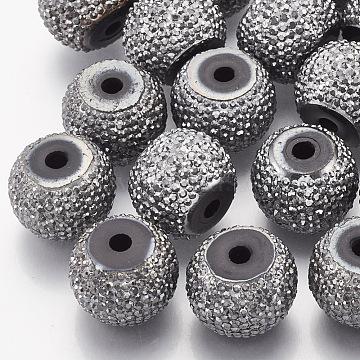 15mm Gray Rondelle Resin+Rhinestone Beads