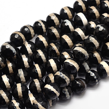 Tibetan Style Striped Pattern dZi Beads Strands, Faceted Natural Agate Round Beads, Black, 8mm, Hole: 1mm; about 46pcs/strand, 15.4 inches(TDZI-O005-10F-8mm)