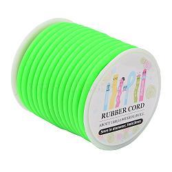 Cordon en caoutchouc synthétique, creux, enroulé aurond de plastique blanc bobine, limegreen, 5mm, trou: 3mm; environ 10.94yards / roll (10m / roll)(RCOR-JP0001-5mm-02)