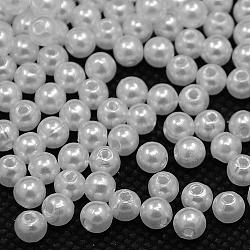 imité perles acryliques perle, arrondir, blanc, 4 mm, trou: 1 mm(X-PACR-4D-1)