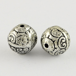 Round Antique Acrylic Beads, Antique Silver, 12mm, Hole: 2mm(X-PACR-S208-48AS)