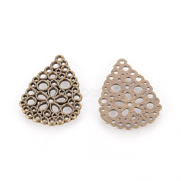 Alloy Bead Rhinestone Settings, Cadmium Free & Lead Free, teardrop, Antique Bronze, about 27mm long, 20mm wide, 1mm thick, hole: 1.5mm(EA152Y-AB)