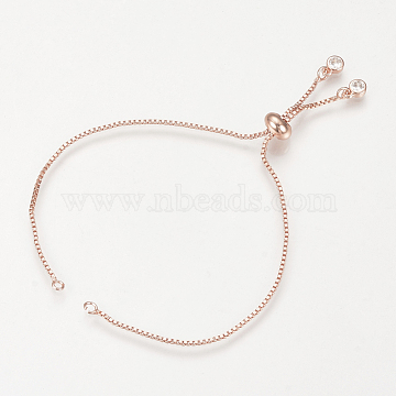 Brass Slider Bracelets Making, with Cubic Zirconia, Box Chains, Long-Lasting Plated, Rose Gold, Single Chain Length: about 12cm; 1mm, Hole: 1.5mm(MAK-R025-02RG)