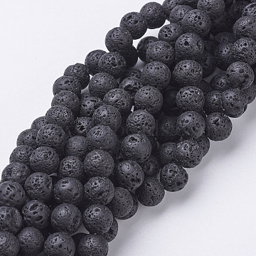 Natural Lava Rock Beads Strands, Round, Black, 8mm, Hole: 1mm, about 49pcs/strand, 15.4 inches(X-G-E005-1)