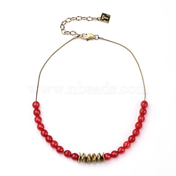 Natural Agate Round Beads Necklace, with Alloy Findings and Iron Chain, Antique Bronze, 15.74inches(NJEW-L412-02)