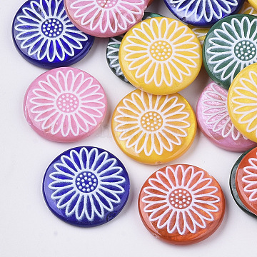 20mm Mixed Color Flat Round Freshwater Shell Beads