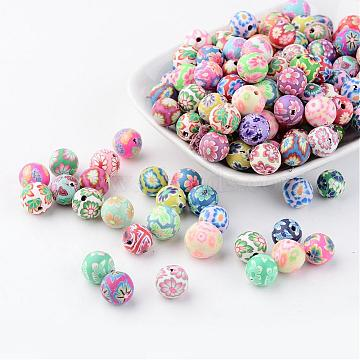 Handmade Polymer Clay Beads, Round, Mixed Color, about 10mm in diameter, hole: 2mm(X-FM10mmY)
