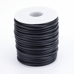 Hollow Pipe PVC Tubular Synthetic Rubber Cord, Wrapped Around White Plastic Spool, Black, 3mm, Hole: 1.5mm; about 25m/roll(RCOR-R007-3mm-09)