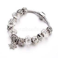 """Bracelets européens de mode en laiton, avec des perles de verre et perles en alliage de strass, clair, 7-1/2"""" (190 mm); 3mm(X-BJEW-L583-01B)"""